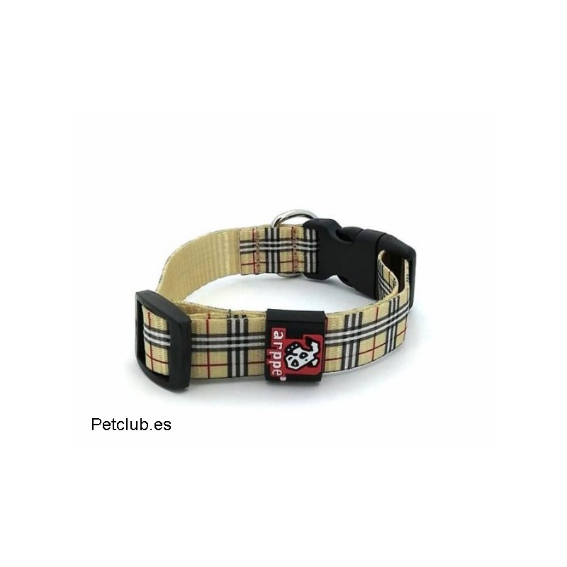 Collar arppe, collar para perro, collar cuadros escoceses perro